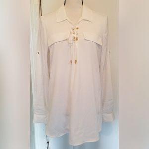 Calvin Klein Solid White Linen Blouse Top Gold